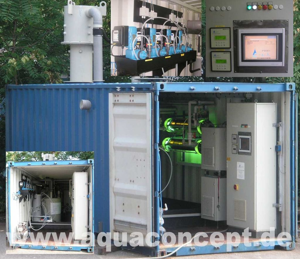 Containerized unit with integrated AOP treatment plant